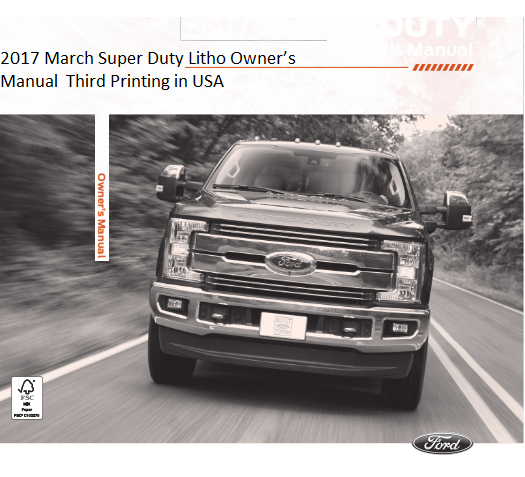 2017 Ford Super Duty Litho Owner Manual Free Download