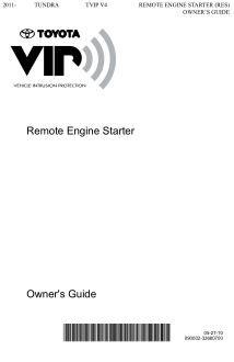 2017 Toyota Tundra Tvip v4 Remote Engine Starter Res Owners Guide Free Download