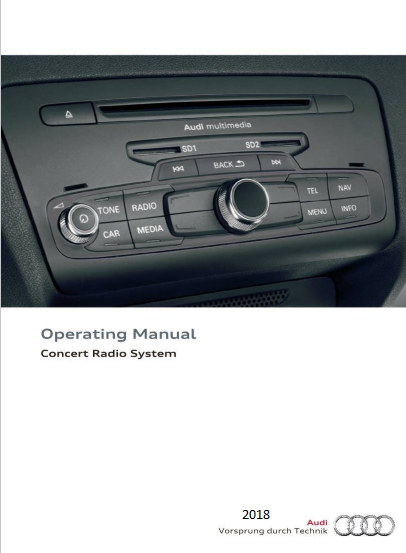 2018 Audi Concert Radio System Operating Manual Free Download