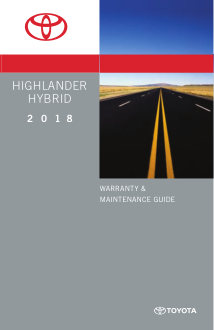 2018 Toyota Highlander Hybrid Warranty And Maintenance Guide Free Download