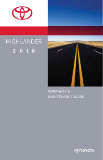 2018 Toyota Highlander Warranty And Maintenance Guide Free Download