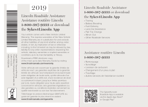 2019 Lincoln Continental Roadside Assistance Free Download