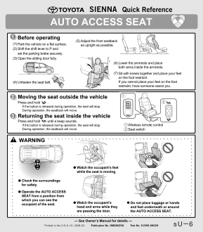 2019 Toyota Sienna Auto Access Seat Quick Reference Guide Free Download