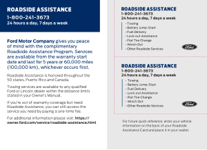 2020 Ford Fusion Roadside Assistance Free Download