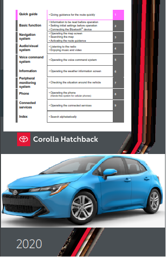 2020 Toyota Corolla Hatchback Hv Navigation And Multimedia System Owners Manual Free Download