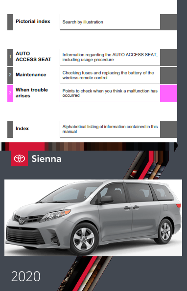 2020 Toyota Sienna Auto Access Seat Maintenance Owners Manual Free Download